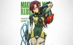 Picture girl, Neon Genesis Evangelion, anime, blue eyes, glasses, white background, simple background, Makinami Mari Illustrious, …