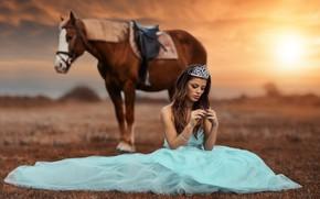 Picture girl, horse, Alessandro Di Cicco, The Princess