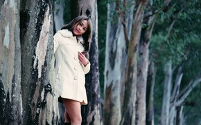 Picture girl, trees, face, sweetheart, hair, legs, coat