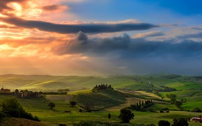 Picture the sky, clouds, light, field, valley, Italy, Tuscany