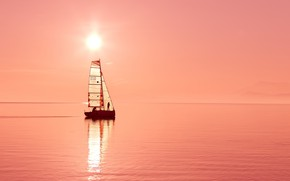 Picture the sun, the ocean, yacht, sail