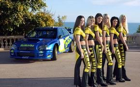 Picture Girls, Subaru, form, smile, views, beautiful girls, blue auto