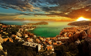 Wallpaper sunset, French Riviera, trees, home, the sky, rays, Monaco, clouds, horizon, the sun, Cote D'azur, ...