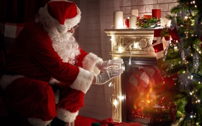 Picture New Year, Christmas, fireplace, merry christmas, christmas tree, santa claus