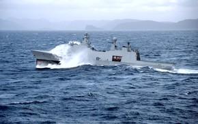 Picture wave, storm, element, frigate