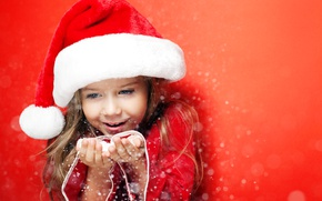 Picture winter, snow, joy, face, hat, girl, New year, girl, winter, snow, New Year, child