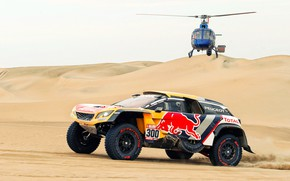 Wallpaper Sand, Auto, Sport, Machine, Speed, Helicopter, Race, Peugeot, Red Bull, 300, Rally, Dakar, Dakar, SUV, ...