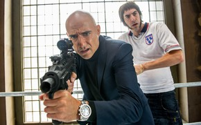 Picture cinema, gun, weapon, movie, film, rifle, Mark Strong, Sacha Baron Cohen, The Brothers Grimsby, Norman …