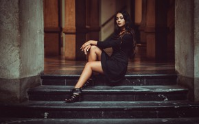 Picture pose, feet, model, dress, ladder, stage, Laura Göcht, Andreas-Joachim Lins