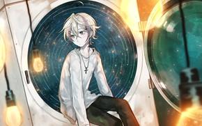 Picture background, anime, guy, white jacket