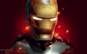 Wallpaper red, background, fiction, art, sparks, costume, helmet, Iron man, Iron Man, Tony Stark