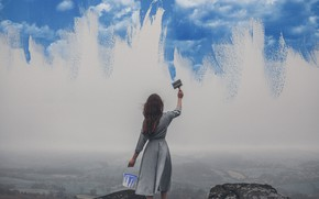 Picture the sky, girl, mood, paint, painting