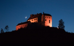 Picture night, house, castle, tree, mountain, The moon, silhouette, hill