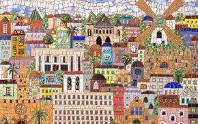 Wallpaper the city, mosaic, Jerusalem
