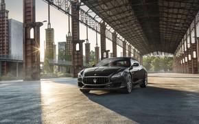 Picture auto, the sun, the city, Maserati, Quattroporte, GTS, GranSport
