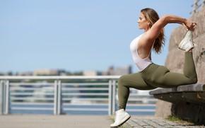 Wallpaper pose, stretching, gymnastics, girl, Alexa