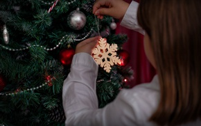 Picture decoration, holiday, toys, new year, girl, beads, tree, snowflake