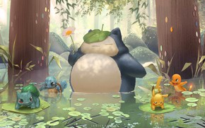 Picture mood, anime, art, pokemon, children's, Janice Sung, My Neighbour Snorlax