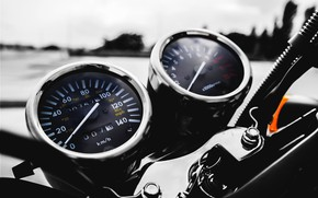 Picture Macro, Speedometer, Motorcycle, Devices, The wheel, Tachometer, The ignition switch