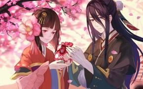 Picture love, anime, sakura, japanese, kimono, bishojo, Onmyouji