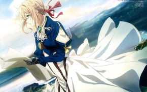 Picture girl, anime, art, blonde, violet evergarden