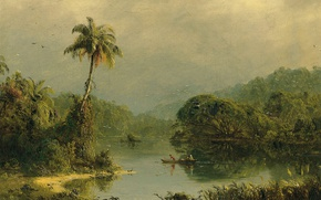 Wallpaper river, Palma, Frederic Edwin Church, nature, Tropical Landscape, boat, picture