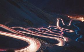 Wallpaper mountain, night, road, lights