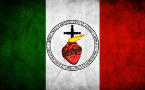 Picture fire, italia, heart, cross, old, italy, flag, Jesus Christ