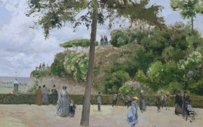 Picture landscape, people, stay, picture, walk, Camille Pissarro, Town Park in PONTOISE