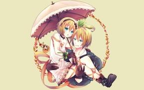 Picture umbrella, anime, art, girl, guy, two, Tales Of Zestiria