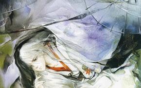 Picture Japanese clothing, watercolor, Eno, rusnok, art, umbrella, long white hair, guy