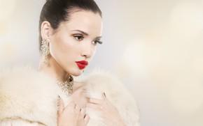 Picture white, decoration, background, portrait, makeup, brunette, hairstyle, fur, beauty