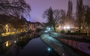 Picture the sky, trees, lights, France, home, the evening, lights, channel, Strasbourg