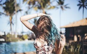 Picture girl, pose, hair, tattoo, tattoo, curls, Gabbie Fadel