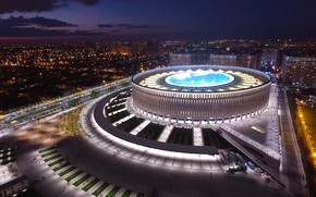 Wallpaper Krasnodar, Krasnodar, The city, night, Stadium, Russia, lights, FCKrasnodar, Krasnodar, Kuban, Kuban, Russia, City, Park, ...