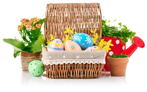 Picture flowers, eggs, Easter, decor, Easter, Holidays, Eggs, Wicker