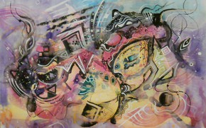 Picture magic, magic, oil, Figure, pastel, markers, gouache, acrylic, gel, Abstract, Lena Horn, paper for pastels. …