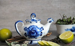 Picture background, Lemon, kettle, welding, dry grass, kettle, Gzhel, Laim,, Russian traditions, Gzhel, teapot