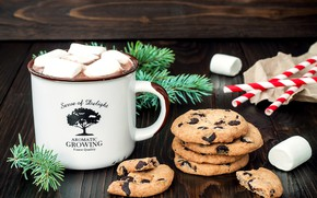 Picture tree, coffee, cookies, Christmas, New year, cakes, sweet, New Year, cookies, marshmallows, marshmallow