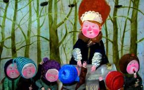 Picture children, horns, saleswoman, Gapchinska