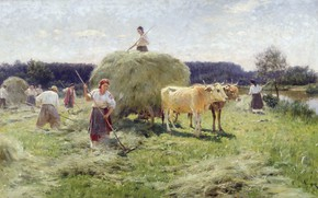 Wallpaper genre, Nikolai Pimonenko, picture, oil, canvas, Hay