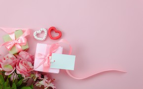 Wallpaper love, background, pink, gift, heart, roses, bouquet, hearts, love, pink, romantic, hearts, valentine's day, gift, ...