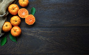 Picture Leaves, Background, halves, tangerines, Citrus