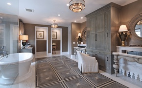 Picture design, Villa, interior, chair, mirror, chandelier, bathroom
