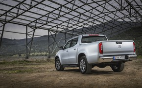 Picture mountains, grey, earth, vegetation, Mercedes-Benz, silver, back, pickup, design, 2017, X-Class
