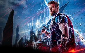 Picture zipper, Ragnarok, Lightning, Warrior, Gladiator, Marvel, Thor, God, Chris Hemsworth, Walt Disney Pictures, Movie, Armor, …