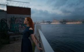 Picture girl, bridge, city, graffiti, model, dress, relax, Bay, light, red, beautiful, the beauty, neckline, sky, …