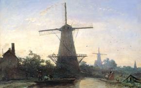 Picture landscape, oil, picture, Windmills in Rotterdam, Ian Bartold Jongkind