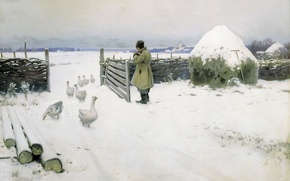 Picture winter, snow, oil, hay, geese, 1897, Snow fell, Michael GERMASHEV (1868-1930)