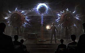 Picture people, scene, equipment, voltage, Miskatonic Science Class